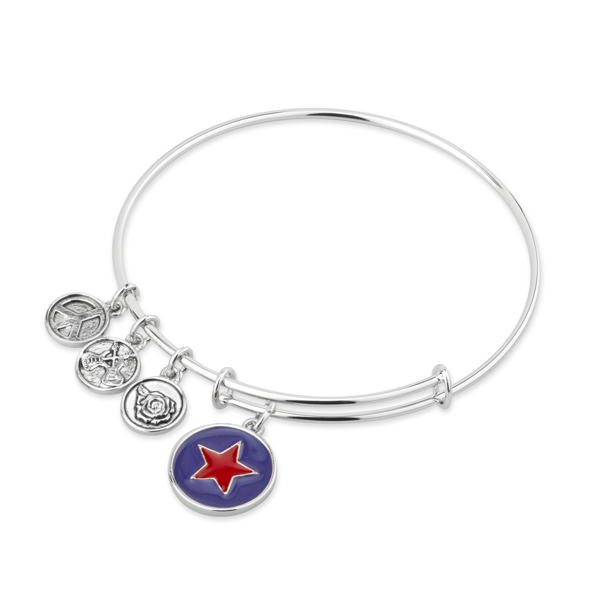 Silver Bangle Bracelet With Red Enamel Star Charm