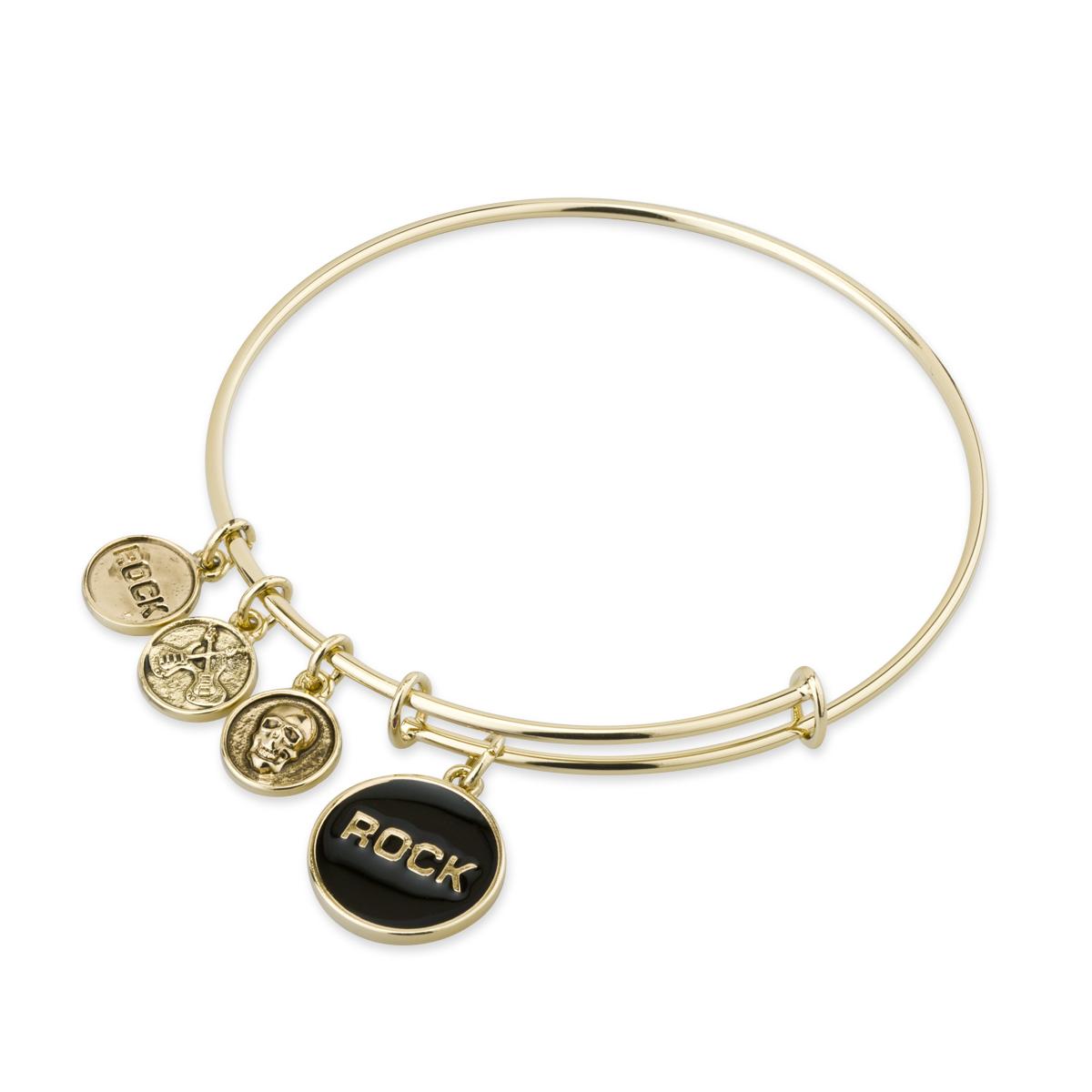 Gold Bangle Bracelet With Black Enamel Rock Charm
