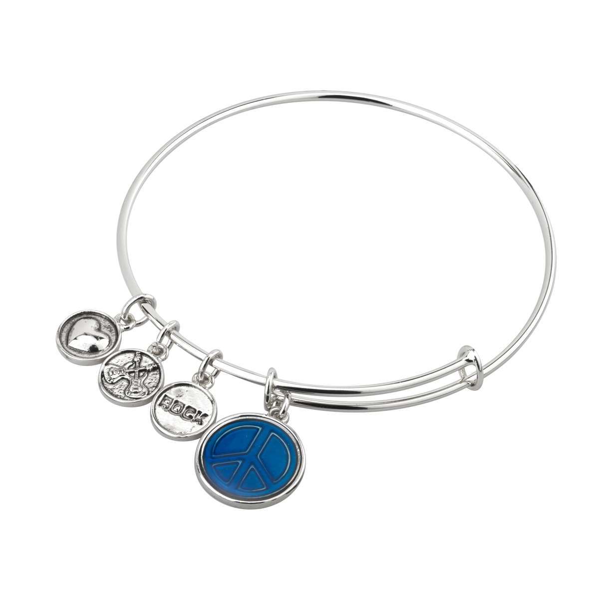 SILVER BANGLE BRACELET WITH BLUE ENAMEL PEACE CHARM