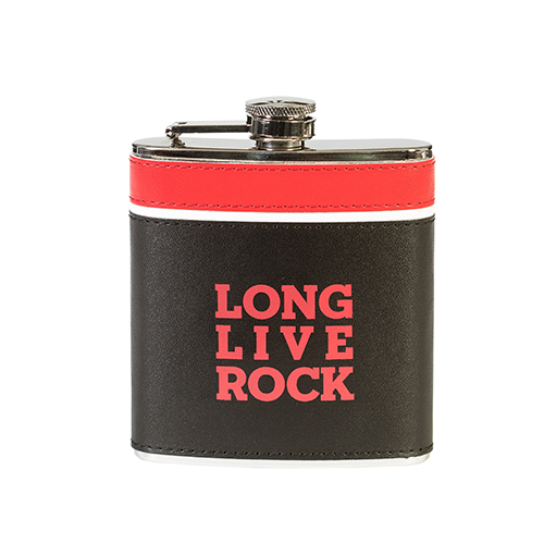 Leather Long Live Rock Flask