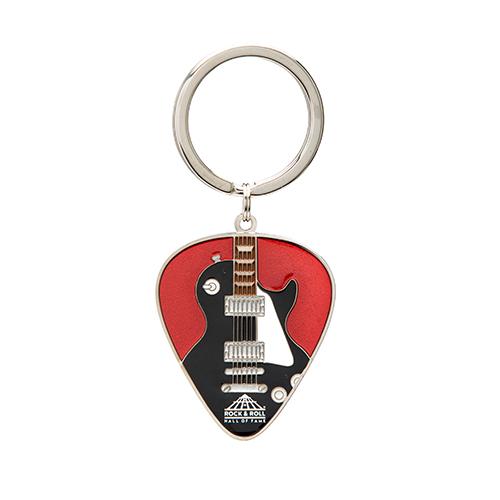 GUITAR & PICK IRIDESCENT RED KEYRING