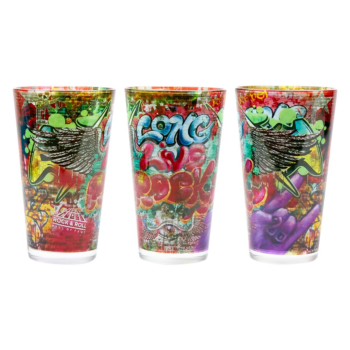 Long Live Rock Graffiti Pint Glass