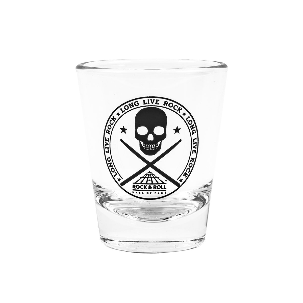 Skull With Drumsticks Clear Shot Glass