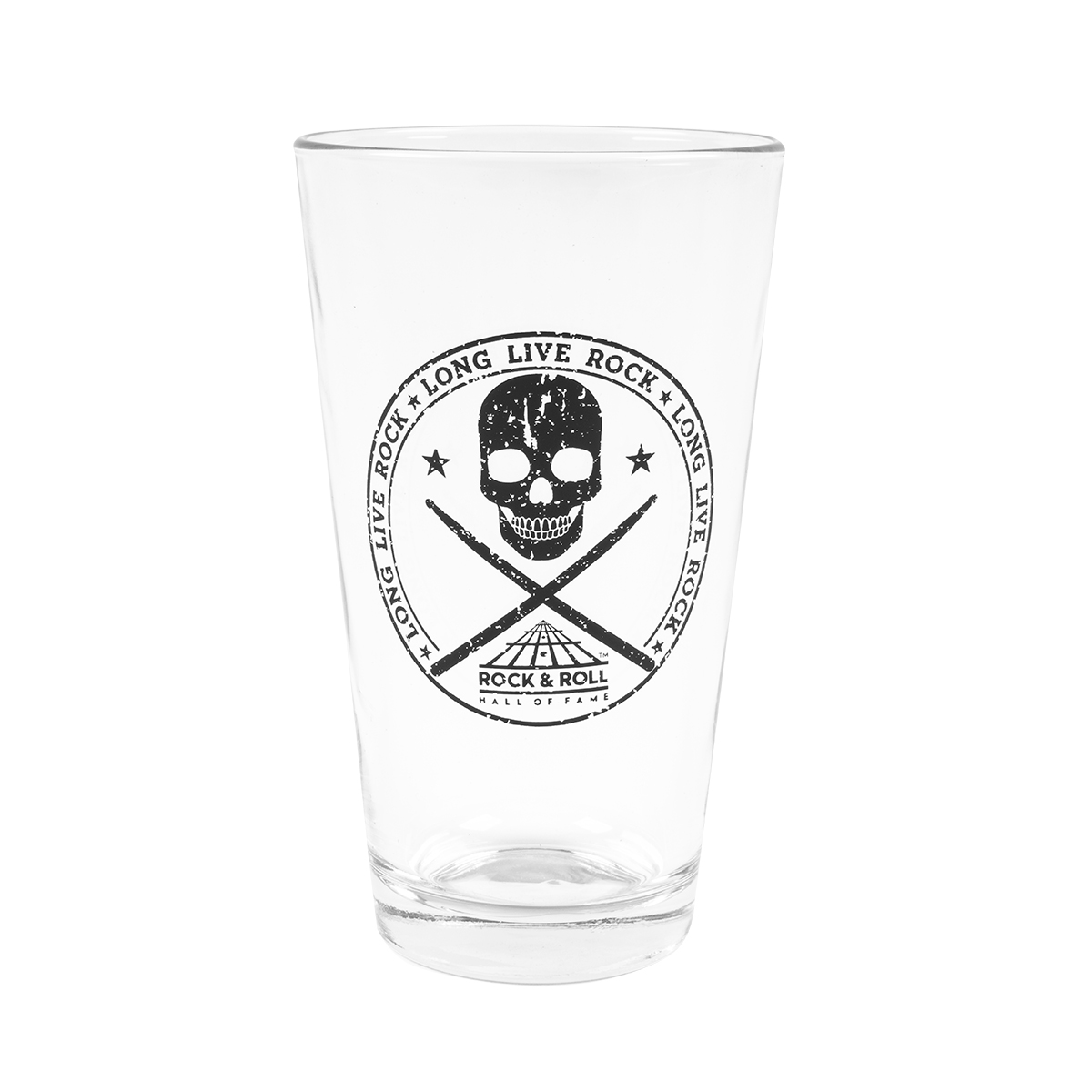 Skull With Drumsticks Clear Pint Glass