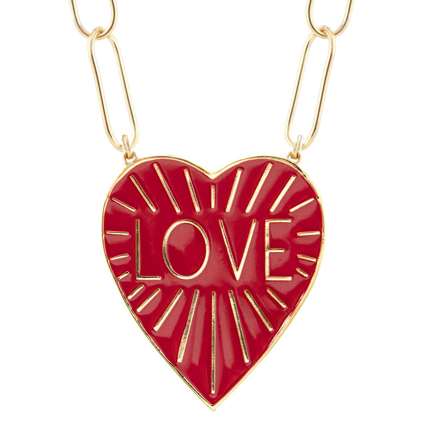 Love Heart Enamel Pendant Necklace, Coral