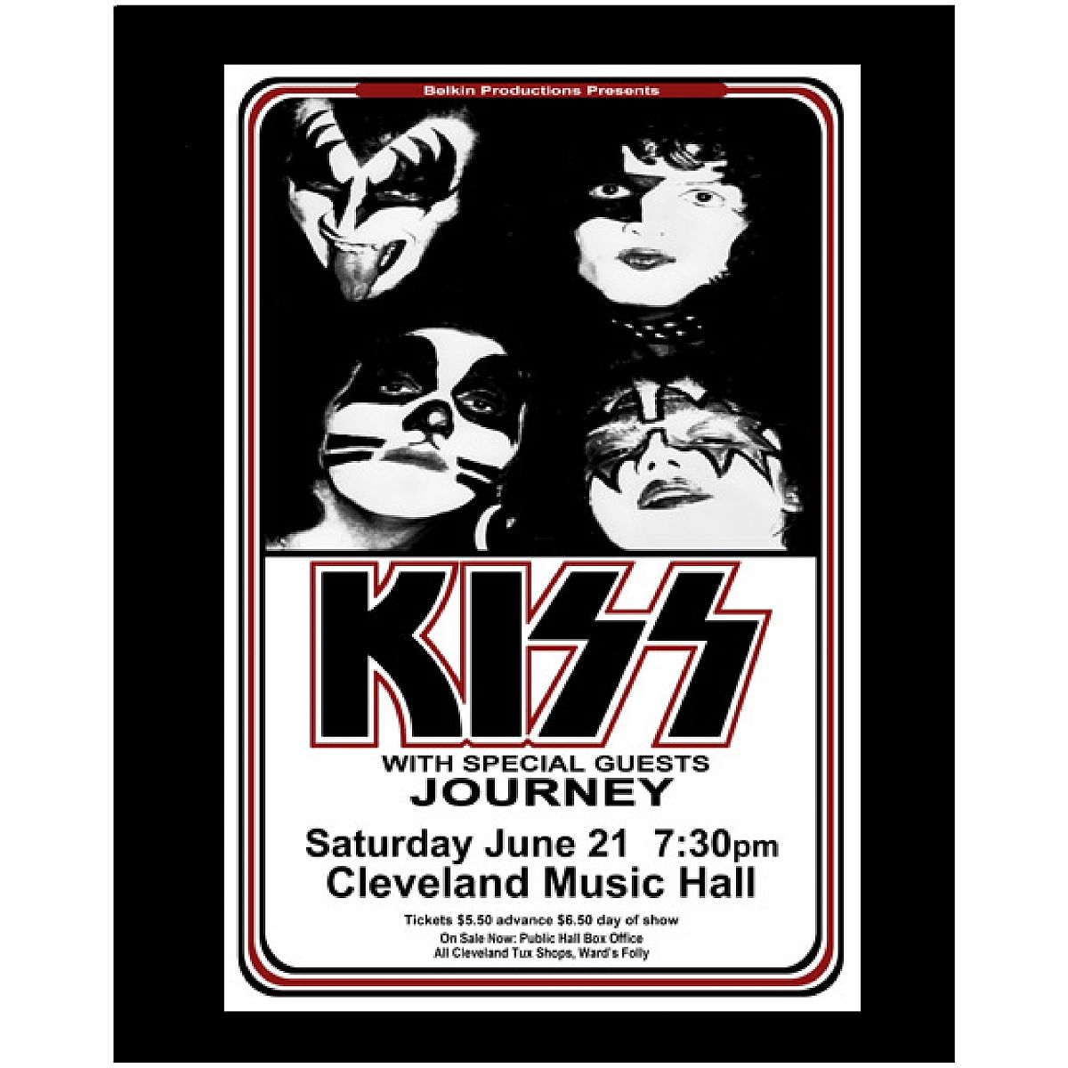 KISS & JOURNEY 1975 CLEVELAND MUSIC HALL POSTER