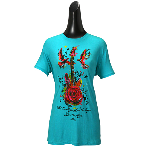 Ladies Feel Live Love Blue Guitar T-Shirt