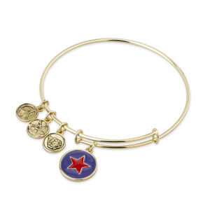 GOLD BANGLE BRACELET WITH RED ENAMEL STAR CHARM