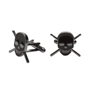 Skull With Drumsticks Cuff Links