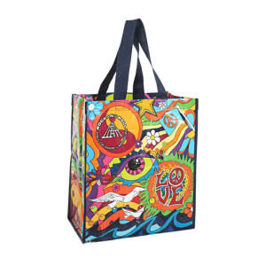 Sixties Life Love And Music Recycled Tote