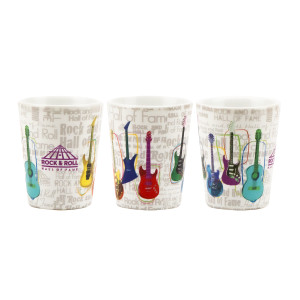 MULTI-COLORED GUITAR COLLAGE SHOT GLASS