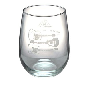 Etched Guitars Wine Glass