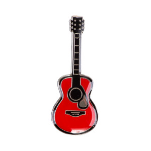 ENAMEL RED GUITAR PIN