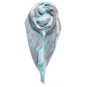 Double Knot Scarf In Grey/Turquoise