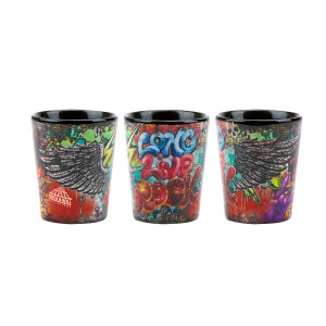 Long Live Rock Graffiti Shot Glass