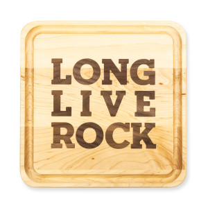 Etched Long Live Rock Wooden Cutting Board