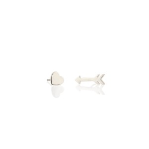 Heart & Arrow Silver Stud Earrings