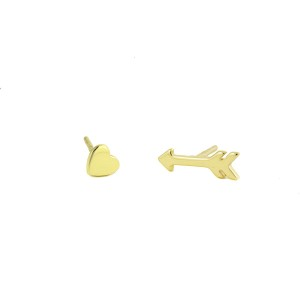 Heart & Arrow Gold Stud Earrings