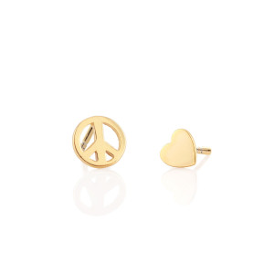 Peace Sign & Heart Gold Stud Earrings