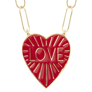 Love Heart Enamel Pendant Necklace, Coral