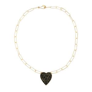 Love Heart Enamel Pendant Necklace, White