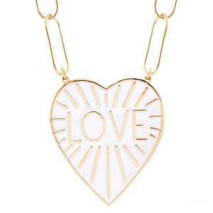 Love Heart Enamel Pendant Necklace, White