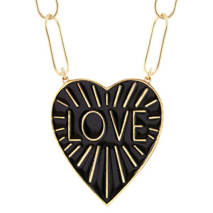 Love Heart Enamel Pendant Necklace, Black