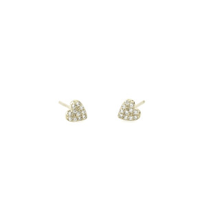 Heart Pave Silver Stud Earrings