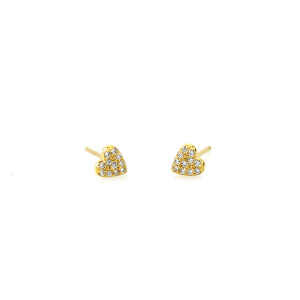 Heart Pave Gold Stud Earrings