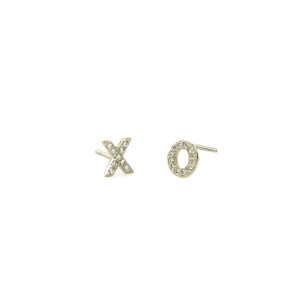 Xo Pave Silver Stud Earrings
