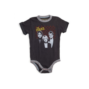 The Police Checkered Logo B&W Band Faces Onesie