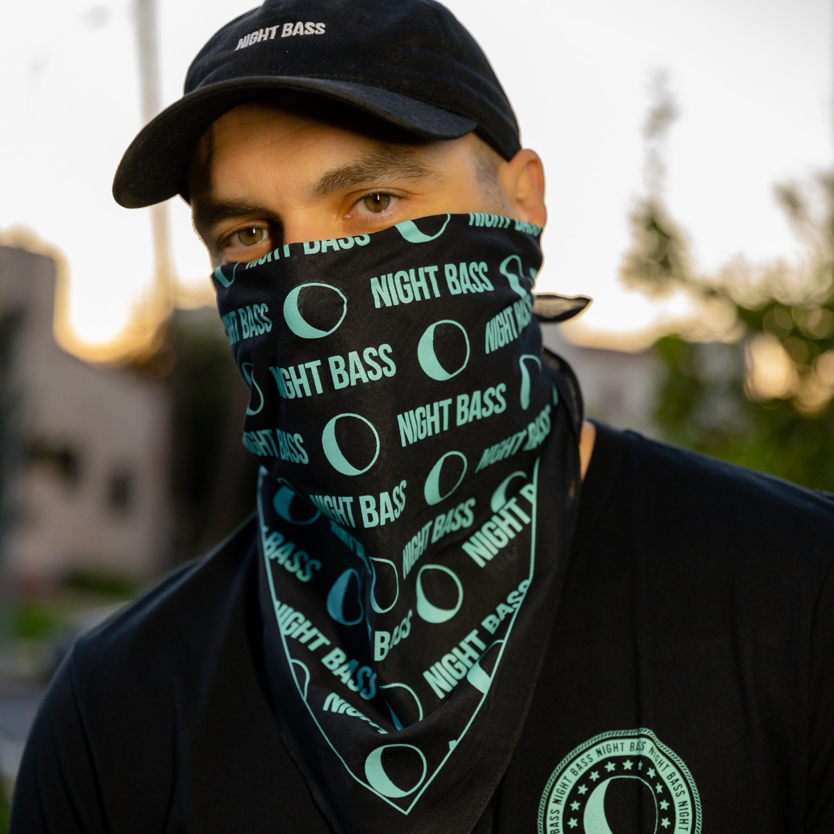 All-Over Print Bandana (Black & Mint)