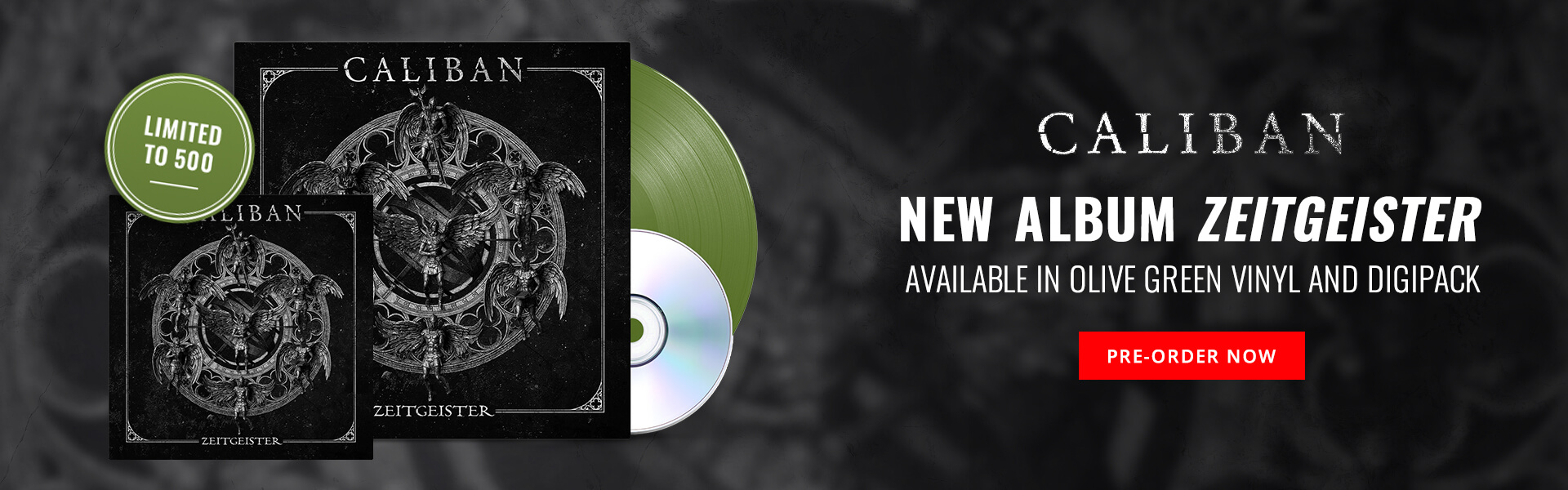 Caliban's new album Zeitgeister available in olive green vinyl and digipak. Pre-order Now. May 14, 2021 release.