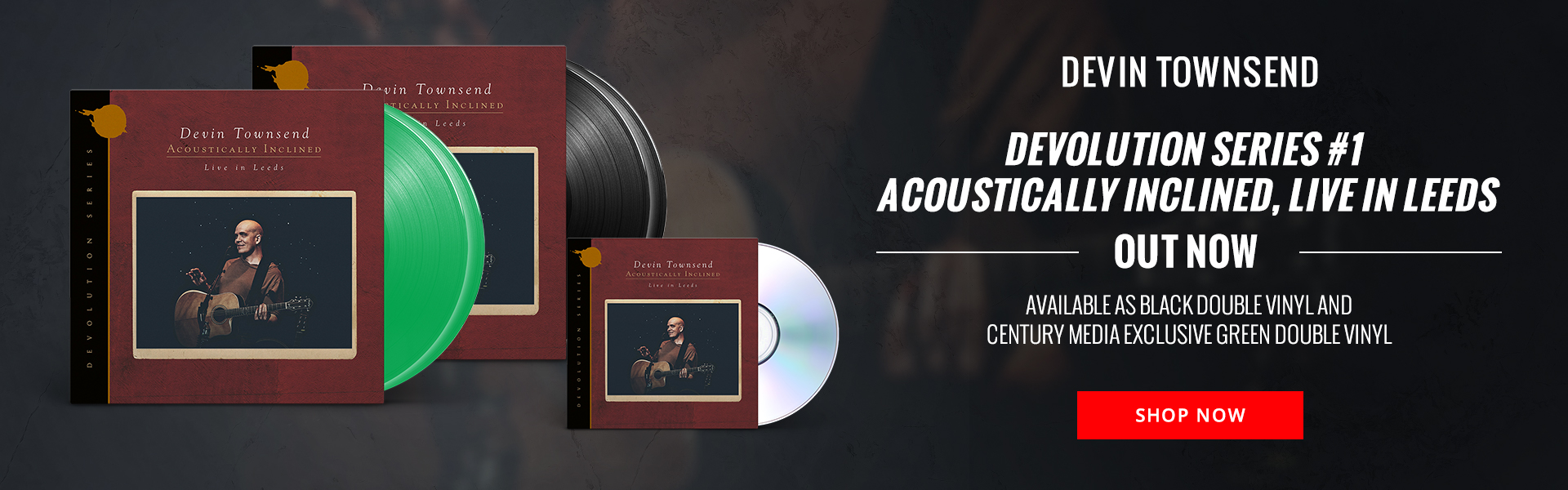 Devin Townsend's Devolution Series #1 Acoustically Inclined, Live in Leeds out now. Available as black double vinyl and Century Media exclusive green double vinyl. Shop Now.