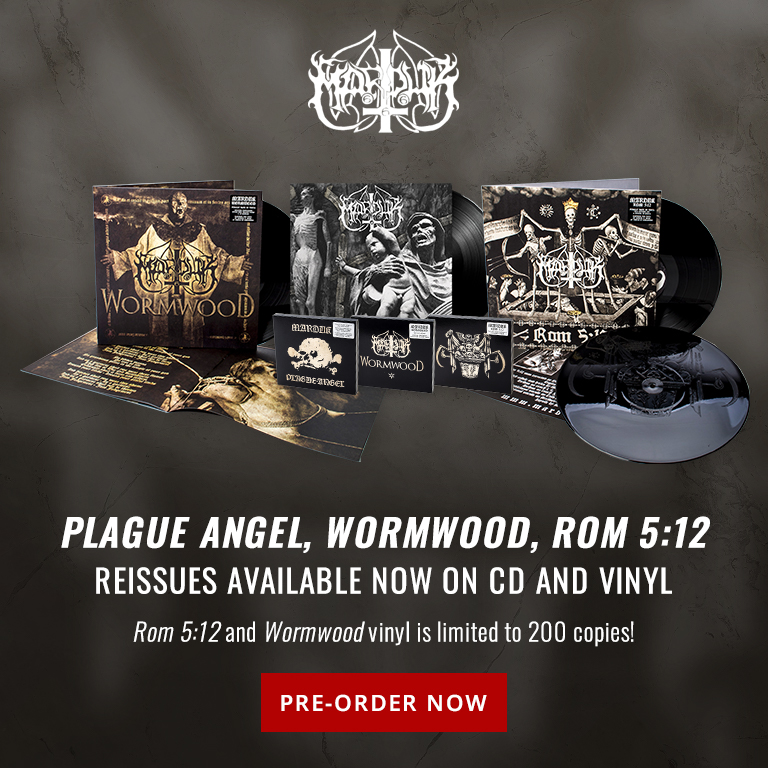 Marduk | Plague Angel, Wormwood, Rom 5:12 | Re-issues available now on CD and vinyl. Rom 5:12 and Wormwood vinyl is limited to 200 copies! | Pre-order Now.