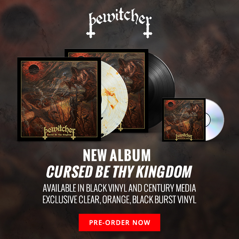Bewitcher's new album Cursed Be Thy Kingdom available in black vinyl and Century Media exclusive clear, orange, and black burst vinyl. Pre-order Now. April 16, 2021 release.