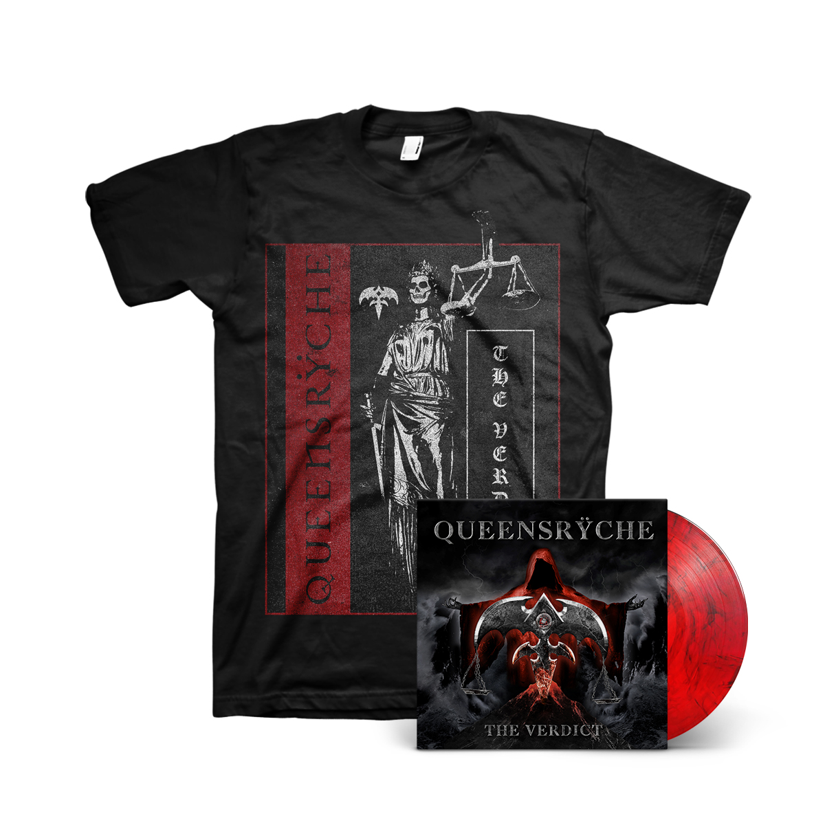 Queensryche - The Verdict Red Smoke LP + Justice T-Shirt