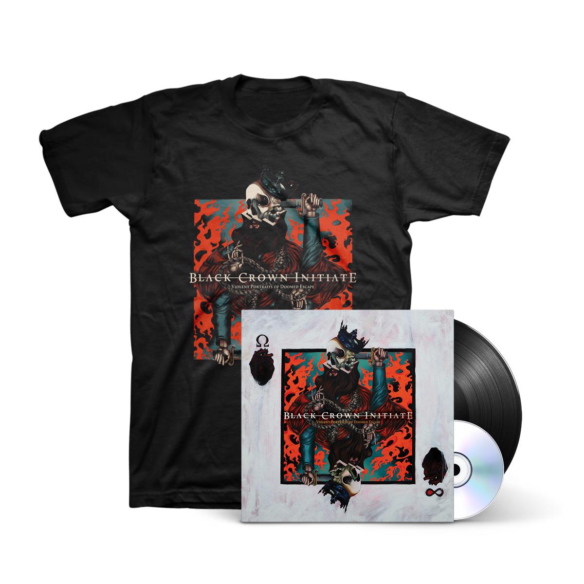 Black Crown Initiate - Violent Portraits of Doomed Escape Black LP + CD + Black T-Shirt + Digital Download