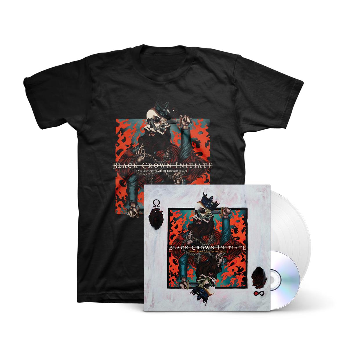 Black Crown Initiate - Violent Portraits of Doomed Escape White LP + CD + Black T-Shirt + Digital Download