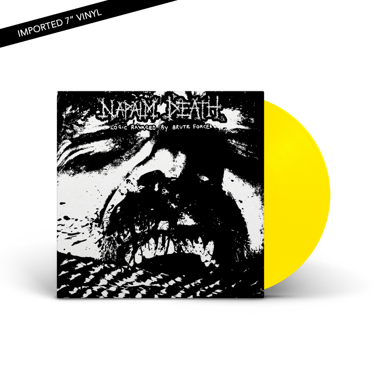 "Napalm Death - Logic Ravaged By Brute Force Neon Yellow 7"" Vinyl LP"