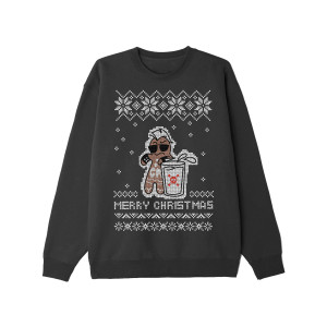 Hardcore Gingerbread Man Black Holiday Sweatshirt