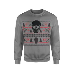 Holiday Skull - Grey Crewneck Sweatshirt