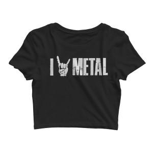 I (Horns) Metal - Black Crop Top