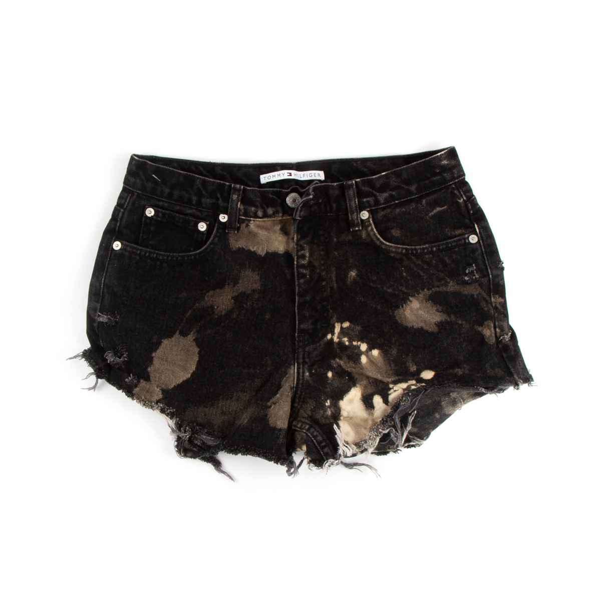 Black Bleached Cut Off Shorts (Size 10)