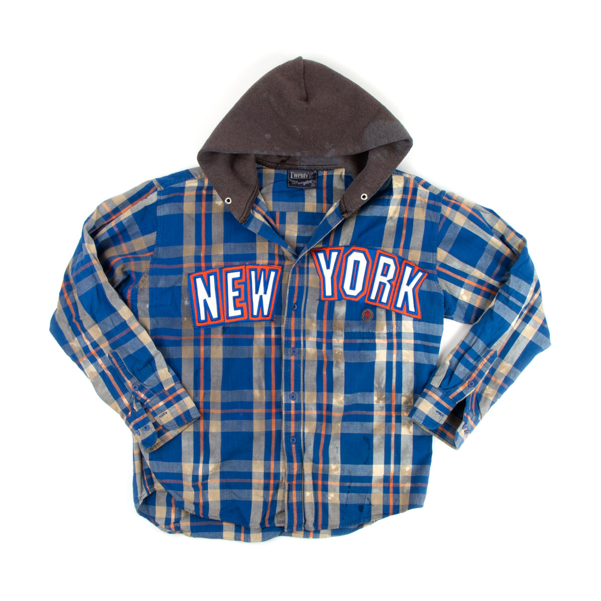 Blue Plaid New York Button-up with Hood (L)
