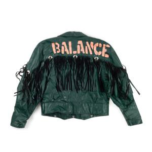 Green Leather Fringe Balance Jacket (M)