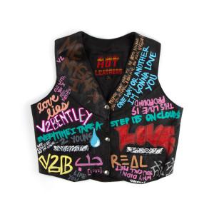 V2 Black Leather Vest (L)