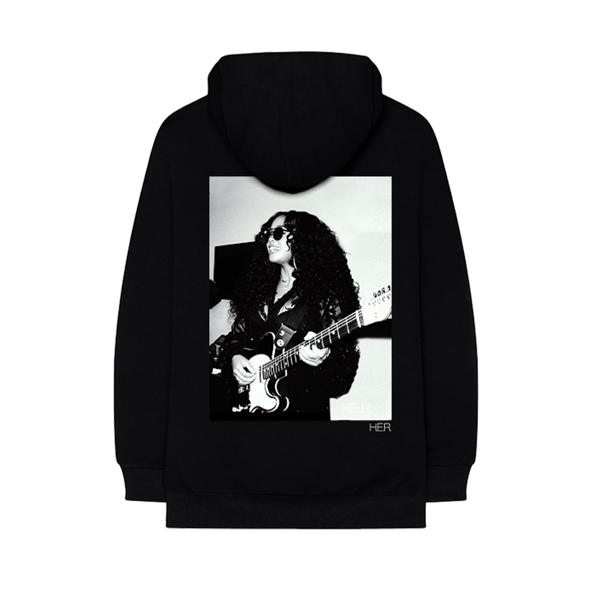 Girls With Guitars Black Sleeve-Text Hoodie