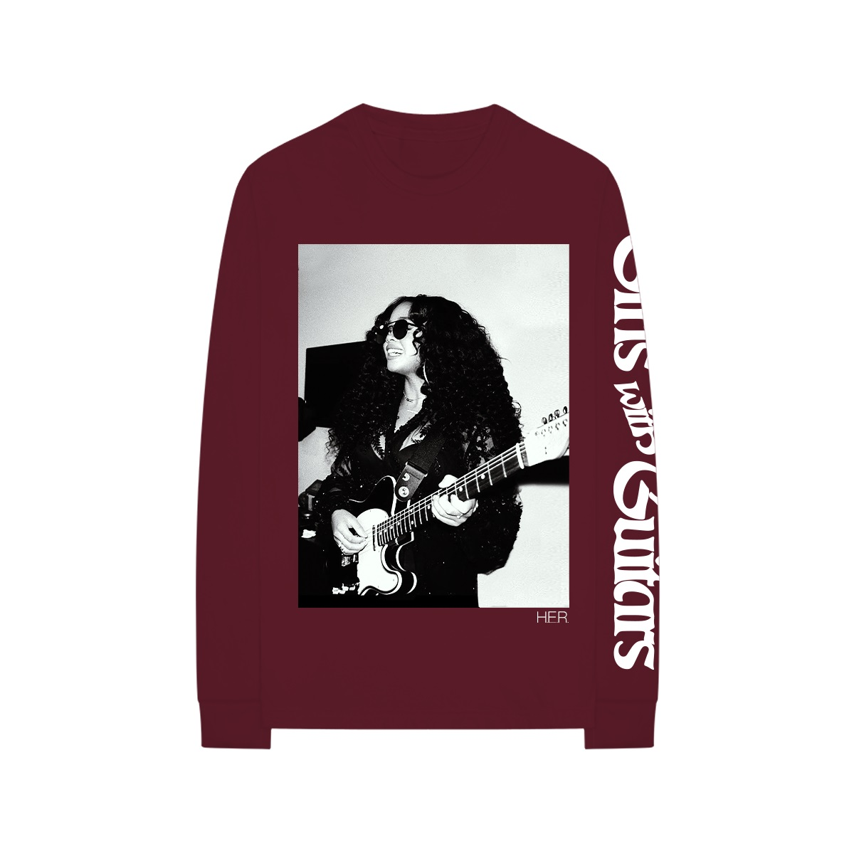 Girls With Guitars Maroon Long-Sleeve Tee