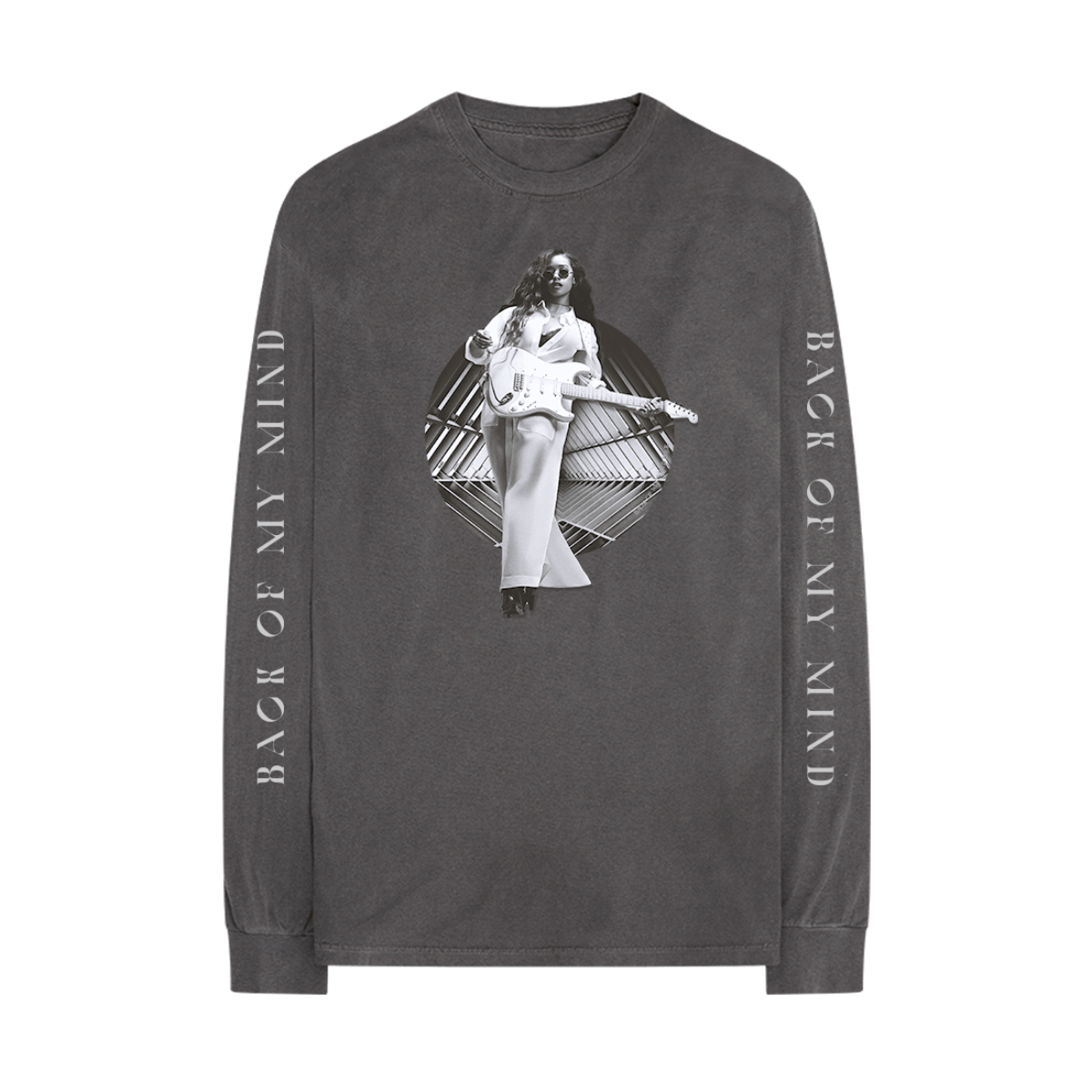 Back Of My Mind Guitar Circle Charcoal Long-Sleeve Tee